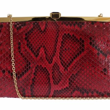 Bag Red Python Snakeskin Shoulder Crystal Clutch