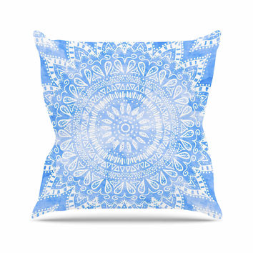 "Nika Martinez ""Boho Flower Mandala in Blue"" Aqua Outdoor Throw Pillow"