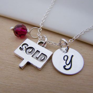 Sold Sign Real Estate Broker Realtor Charm Swarovski Birthstone Initial Personalized Sterling Silver Necklace / Gift for Her