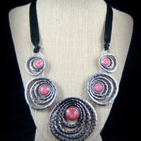 Statement Necklace - Pink Acrylic Cabs in Antiqued Silver Metal Circles - Bib Style Necklace with Ribbon, Bib Necklace - Geometric Necklace