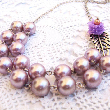 Dusty Pink Pearl Necklace, Vintage Style, Bridesmaid Necklace, Two strand pearl, Wedding Jewelry, Leaf Necklace, Lavender Flower Necklace
