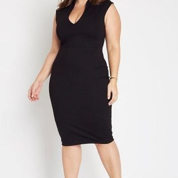 Larissa Deep V Bodycon Dress Black
