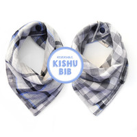 blue gray plaid bandana bib | 100% cotton muslin | one size | reversible | multifunctional