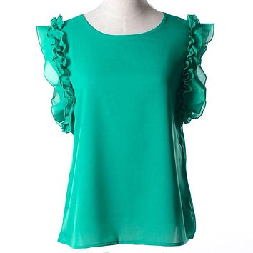 S-XXL New 2017 Women O-Neck Lotus Leaf Pullover Lacing Bow Chiffon Shirt Top Womens Blouse Plus Size Casual Summer Shirt Q1171
