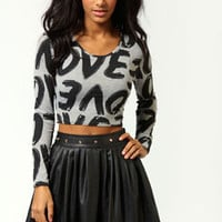 Scarlett All Over Love Print Long Sleeve Crop Top