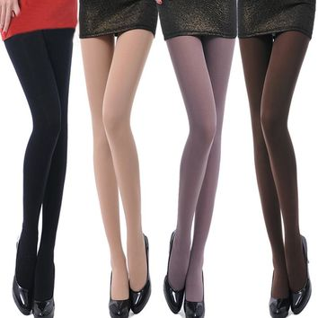 Sexy women pantyhose spring autumn thick 100D slim leg foot pure silk stockings all-match velvet tights collant femme