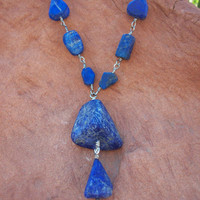Natural Blue Raw Lapis Lazuli Gemstones on Silver Plated Hand-Looped Wire Wrapped Necklace OOAK Nature Inspired Jewelry Gift For Women