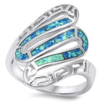 Greek Snake Inlay with Blue Lab Opal in Sterling Silver Band