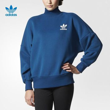 """Adidas"" Women Sports Casual Loose Long Sleeve Turtleneck Sweater Pullover Sweatshirt"