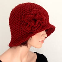 Crochet Cloche. 1920s High Fashion Inspired Hat. Brick Red Rose Flowered Cloche