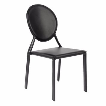Valencia Ave All Leather Side Chair Set of 2 - BLACK