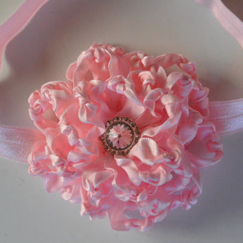 Handmade girl headband, baby headband, infant headband, photo prop, flower headband, newborn headband, kanzashi flower headband.