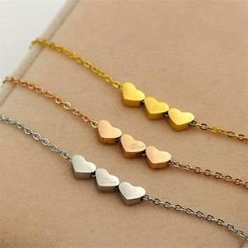 Martick Cute Lovely Style Pendant Necklace Link Chain Three Hearts Pendant Necklace Fashion Jewelry For Woman P79