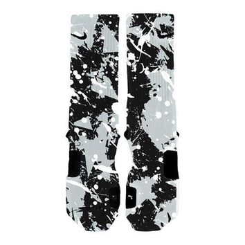 custom nike elite socks kd lebron kobe all sizes hoopswagg spurs splatter  number 1
