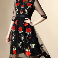 Black Gauze Rose Embroidered Midi Dress