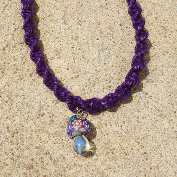 Just A Simple Purple Hemp Necklace with Fimo Glass Mushroom