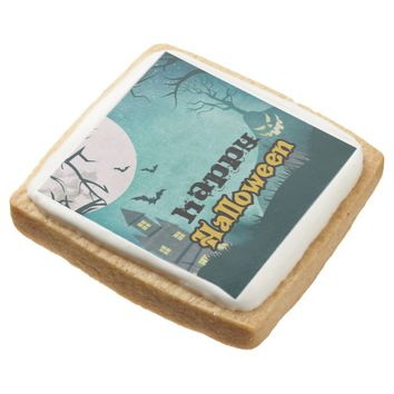 Spooky Haunted House Costume Night Sky Halloween Square Shortbread Cookie