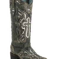 Corral Women's Distressed Black w/White Inlayed Winged Cross & Silver Studs Double Welt Square Toe Western Boots