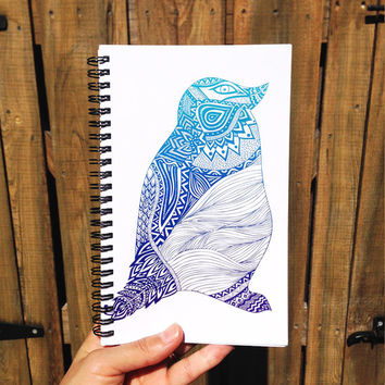 Duotone Penguin | Spiral Notebook | Sketchbook | Agenda