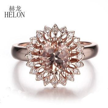 HELON Gorgeous Fine Jewelry Ring Solid 10K Rose Gold  Natural Diamonds Ring  Pink Morganite Oval Shape 9x7mm Wedding Fine Ring