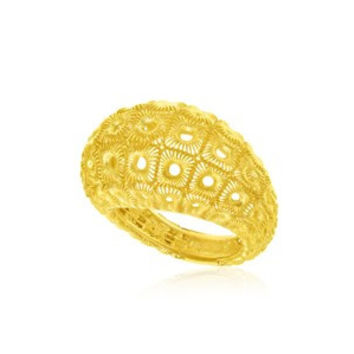 RICHARD CANNON Honeycomb Mesh Design Dome Ring in 14K Yellow Gold