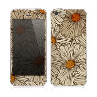 The Tan & Orange Tipped Flowers Pattern Skin for the Apple iPhone 5s