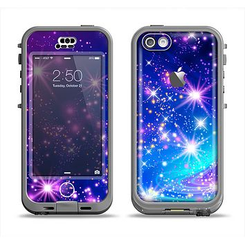 The Glowing Pink & Blue Starry Orbit Apple iPhone 5c LifeProof Nuud Case Skin Set