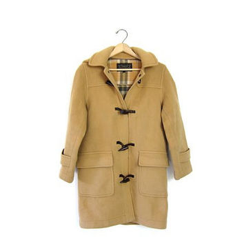 vintage wool toggle coat winter duffel coat camel brown hooded coat plaid lined coat preppy tan button up jacket womens XL