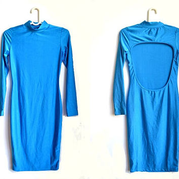 Blue Backless Bodycon Dress Open Back Fitted Spandex Long Sleeve Vintage 90s Small S