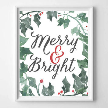 Merry and Bright Lettered and Illustrated Quote, Prints and Posters, Holiday Art, Christmas Winter Decor, Typography