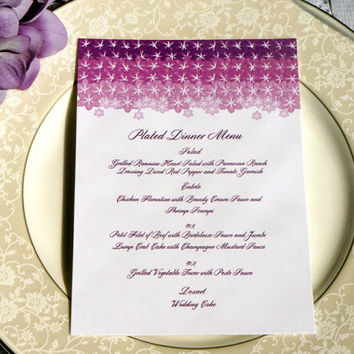 Ombre Floral Wedding Menu Card - Ombre Wedding, Purple, Dinner Menu, Wedding Menu, Floral, Purple Flowers - DEPOSIT to get started