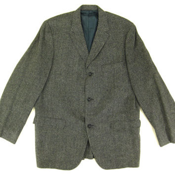 Vintage Tweed Blazer - Sport Coat, Jacket, Grey, Black, Herringbone, Ivy League Menswear - Men's Size 42 Large Lrg L