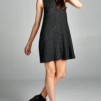 Keep it Cozy Ribbed Trapeze Dress - Charcoal