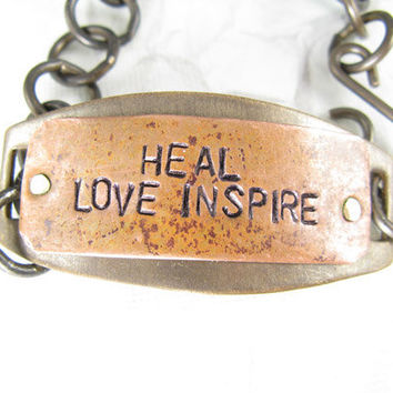 Heal Love Inspire Hand Stamped Bracelet, Mixed metals Copper and Brass, Hand stamped Jewelry