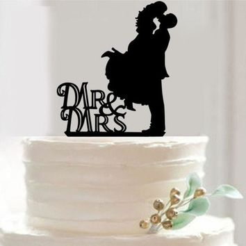 DCCKIX3 Bride And Groom Acrylic black Wedding Cake Topper Cake Stand Wedding Cake Accessories Wedding Decoration = 1929345988