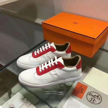 Hermes Women Trending Fashion Embroidery printing Casual Sneakers Sports Shoes Red