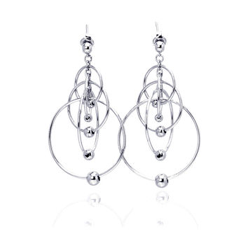Sterling Silver Graduated Open Circles Earrings