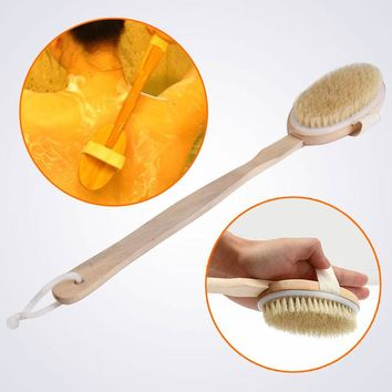 Long Wood Spa Bath Scrubber Massager Shower Natural Bristle Body Brush for Back