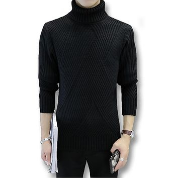 2017 Men Turtleneck Pullovers Autumn Winter Men Sweaters Casual Sweaters Slim Fitness Solid Cotton Thick Men Pullovers Plus 3XL