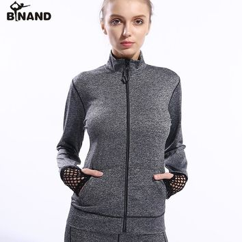 BINAND Front Zipper Mesh Patchwork Long Sleeve Yoga Jackets Females Breathable Profession Running Fitness Workout Sports Coat