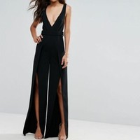 ASOS TALL Plunge Wide Leg Jumpsuit with Split Front