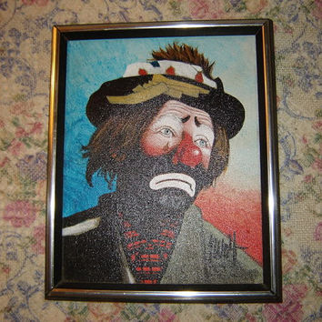 Vintage Leon Wolf Original Framed Oil Painting of Sad Clown with Tear Signed