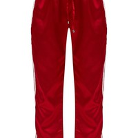 Red Satin Sporty Trim Joggers
