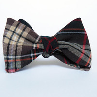 Tartan Self Tie Bow Tie for Men by BartekDesign: brown black red informal untied necktie wedding grommsman