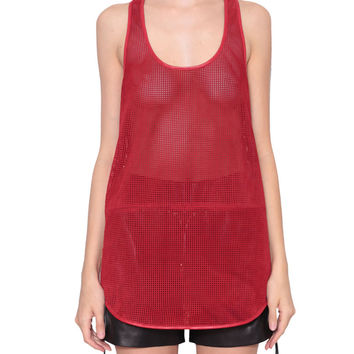 Giuseppe Zanotti Fishnet suede leather tank top with zipper