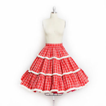 Vintage 50s Skirt - FULL CIRCLE Cotton Gold Red + White Plaid Tassel Holiday Skirt - XS Extra Small