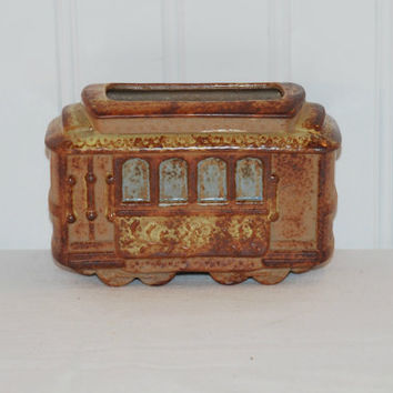 Counterpoint Trolley Car, (c.1970s) San Francisco, Made In Japan, Pottery Planter, Cable Car, Collectible, Office Pen Holder, Momento