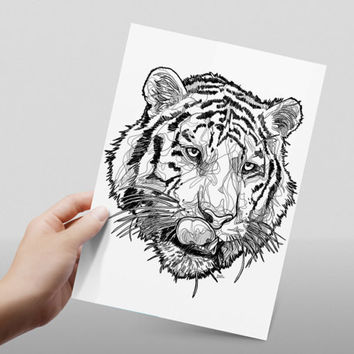 Tiger head line drawing // black and white // abstract tiger // print // home decor// A4 size // glossy paper print