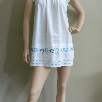 Vintage Hippie Mexican Embroidered Baby Doll Tent Mini Dress Size Small