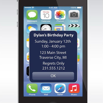 iPhone Alert Birthday Invitation - Unique Printable Kids Birthday Party Invitations
